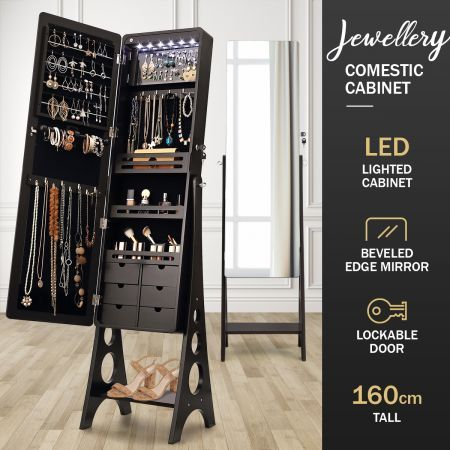 Versatile Mirror Jewellery Cabinet Auto LED light-Brown