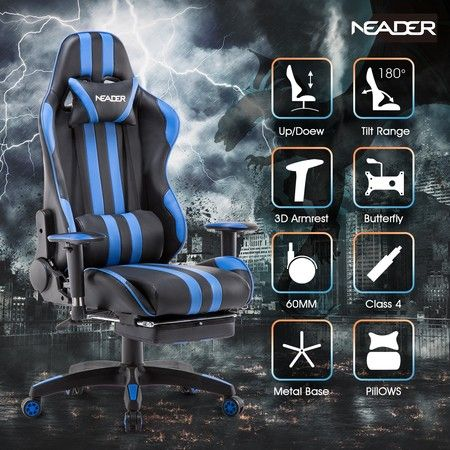 Premium High Back Pu Leather Gaming Chair W Footrest Crazy Sales