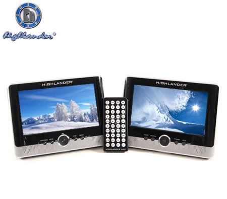 "Highlander AVD8873 7"" Inch Dual Screen Portable DVD Player with USB & 3-in-1 Card Reader"