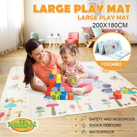 200cmx180cm 15mm Thick Reversible Baby Play Mat Kids Activity Gym