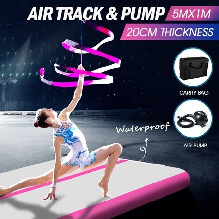 5x1x0.2m Air Tumble Track Training Mat for Home Gymnastics Cheerleading-Pink
