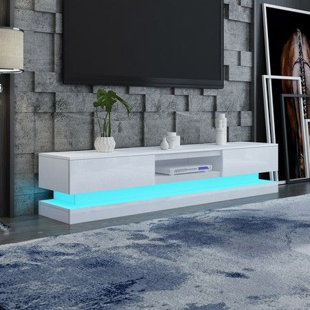180cm Wood TV Stand Unit 2 Drawers High Gloss Front with RGB LED - White