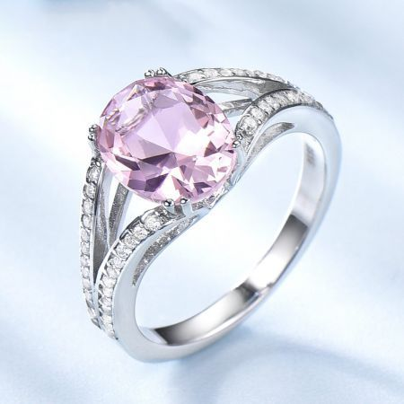 Pink Gemstone Promising Wedding Engagement Ring in 925 Sterling Silver with Side Gems