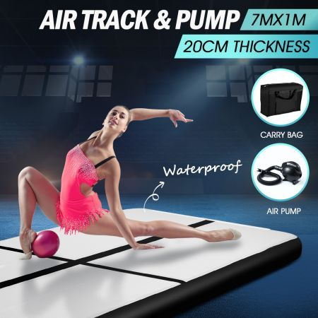 7x1x0.2m Air Track Gymnastics Mat Black with Electric Air Pump