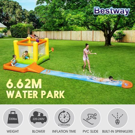 Bestway Inflatable Water Pool Jumping Bounce House Gym with Sprinkler Slide