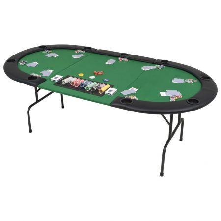 9-Player Folding Poker Table 3 Fold Oval Green