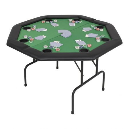 8-Player Folding Poker Table 2 Fold Octagonal Green