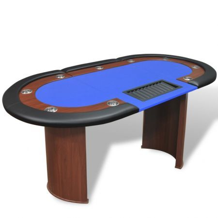 10-Player Poker Table with Dealer Area and Chip Tray Blue
