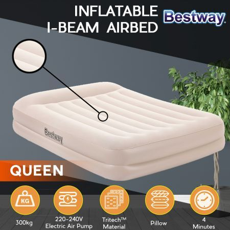 Bestway Queen Air Bed 42cm Inflatable Air Mattress with Built-in Pump and Pillow