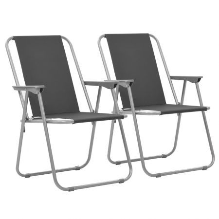 Folding Camping Chairs 2 pcs 52x59x80 cm Grey