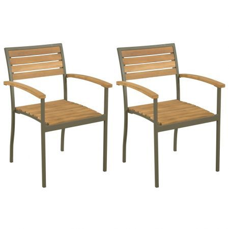 Prime Stackable Outdoor Chairs 2 Pcs Solid Acacia Wood And Steel Inzonedesignstudio Interior Chair Design Inzonedesignstudiocom
