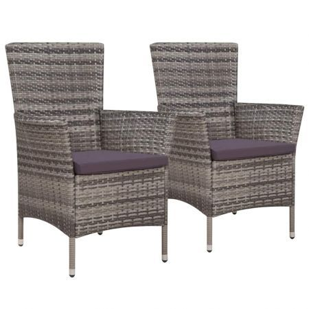 Garden Chairs 2 pcs with Cushions Poly Rattan Grey