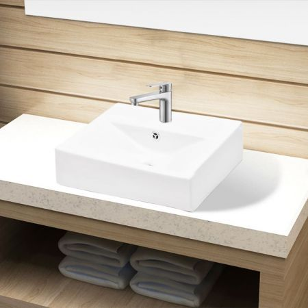 Ceramic Bathroom Sink Basin Faucet/Overflow Hole White Rectangular
