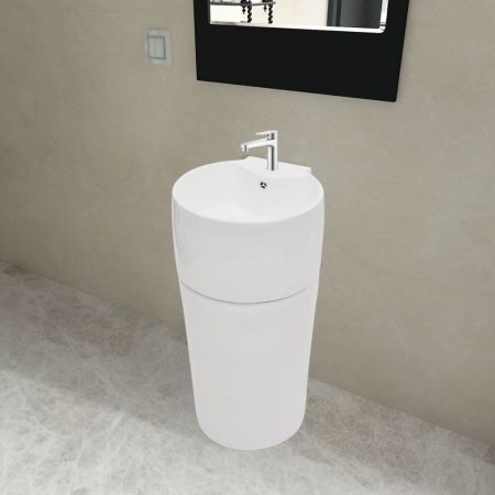 Ceramic Stand Bathroom Sink Basin Faucet/Overflow Hole White