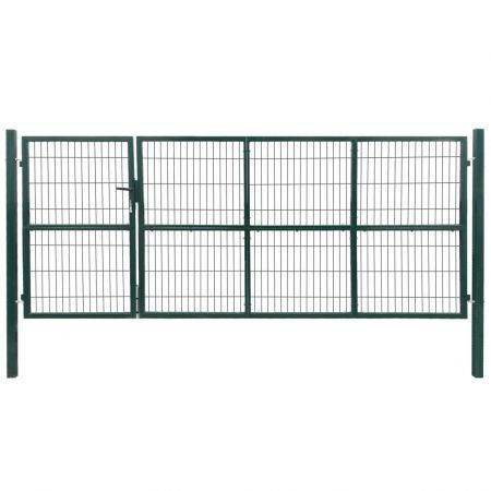 Garden Patio Fence Gate with Posts 350x140 cm Steel Green