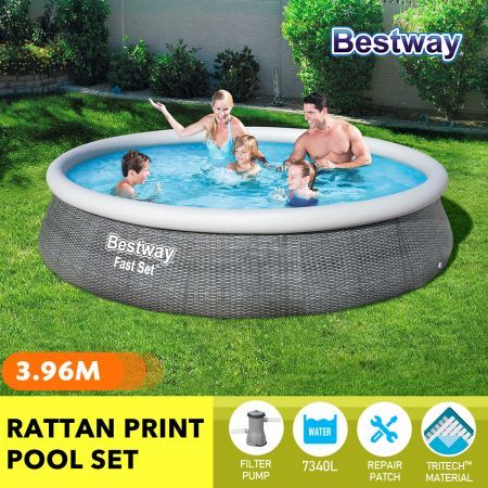 Bestway 3.96x0.84m Fast Set Above Ground Pool Family Swimming Center