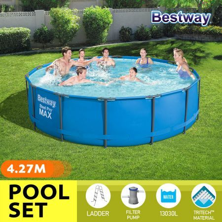 Bestway 4.27x1.07m Metal Frame Above Ground Pool Set with Filter Pump Ladder Cover