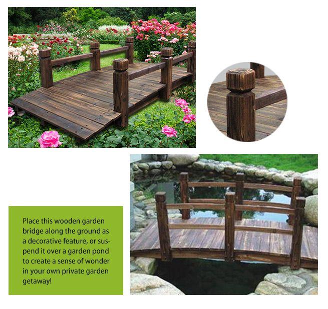 ... Wooden Garden Bridge With Side Rails
