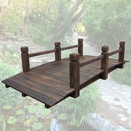 Wooden Garden Bridge With Side Rails Crazy Sales