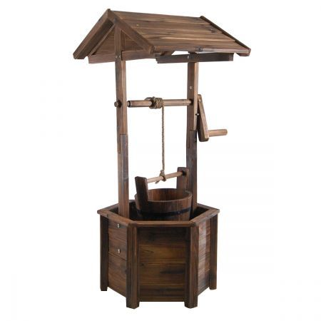 Wooden Wishing Well Garden Feature