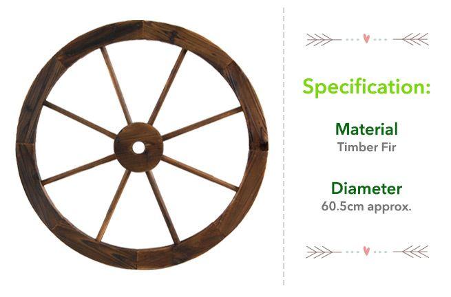 Large Wooden Wheel Garden Feature - Fir Wood