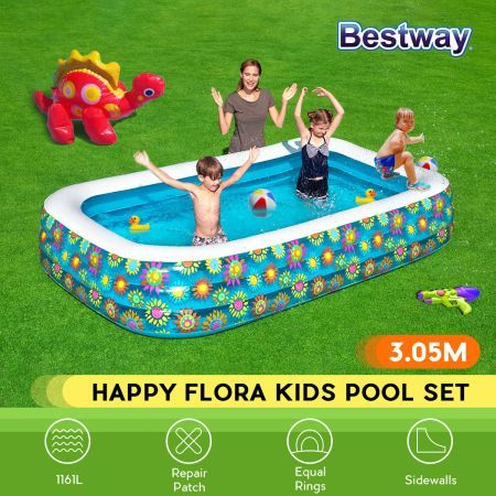 Bestway Kids Toddler Inflatable Swimming Pool 3.05x1.83x0.56m Flora