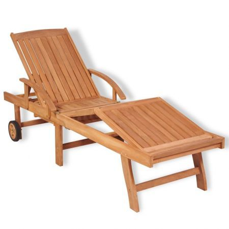 Sun Lounger Solid Teak Wood