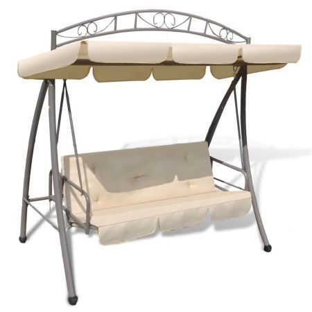 Outdoor Swing Chair / Bed Canopy Patterned Arch Sand White