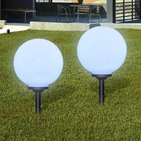 Garden Path Solar Ball Light LED 30cm 2pcs with Ground Spike