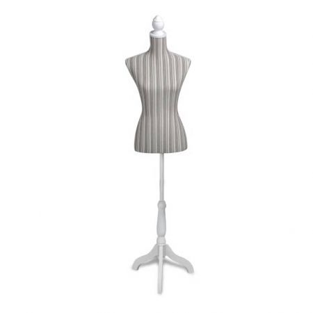 Ladies Bust Display Mannequin Linen With Stripes