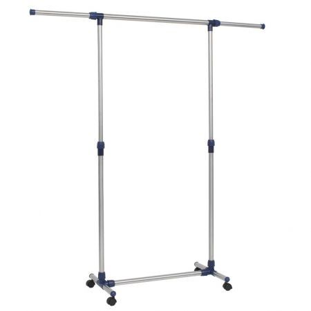 Adjustable Clothes Rack Stainless Steel 165x44x150 cm Silver