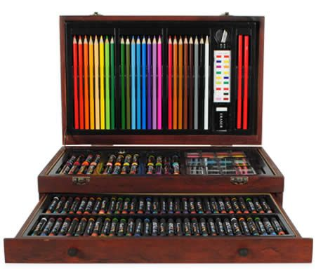 Creative gift 138 piece complete wooden art box set for colouring