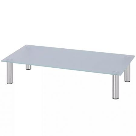 Monitor Riser/TV Stand 80x35x17 cm Glass White