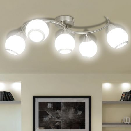 Ceiling Lamp with Glass Shades on Waving Rail for 5 E14 Bulb