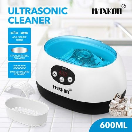 MAXKON 600ml Ultrasonic Cleaner Rings Watches Dentures Glasses Jewellery Cleaning