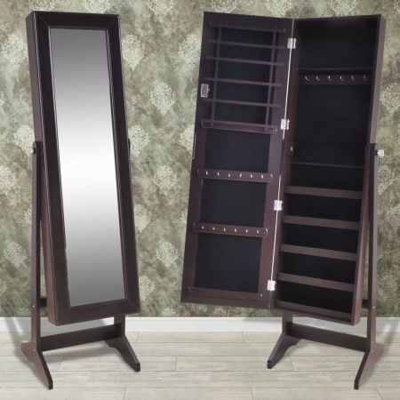 Free Standing Jewellry Cabinet with Mirror Brown