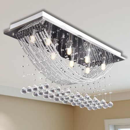 Ceiling Lamp with Glittering Glass Crystal Beads 8 x G9 29 cm