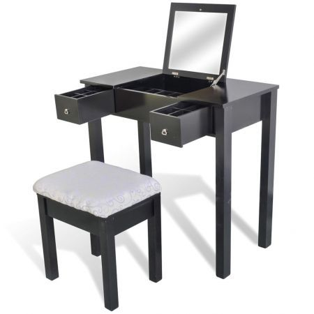 Dressing Table with Stool and 1 Flip-up Mirror Black