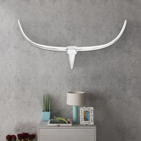 Wall Mounted Aluminium Bull's Head Decoration Silver 125 cm