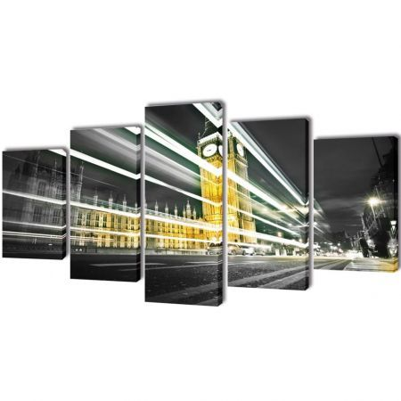 Canvas Wall Print Set London Big Ben 100 x 50 cm