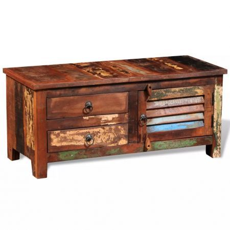 Reclaimed TV Hi-Fi Cabinet Side Cabinet Solid Wood