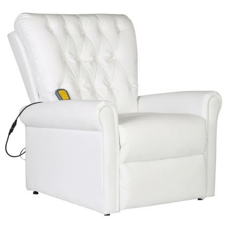 Massage Chair Electric Artificial Leather Adjustable White