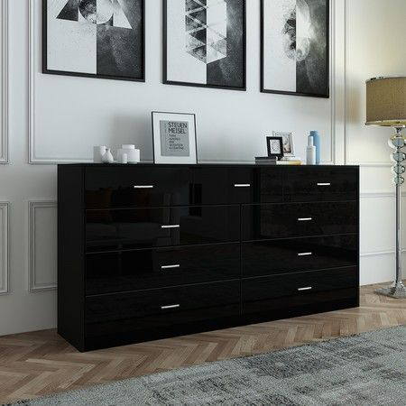 9 Drawer Cabinet Sideboard Bathroom Storage Units Black High Gloss Front