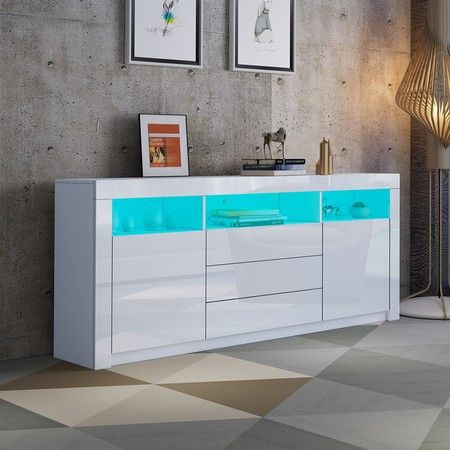 160cm TV Stand Cabinet Sideboard with White High Gloss Front RGB LED
