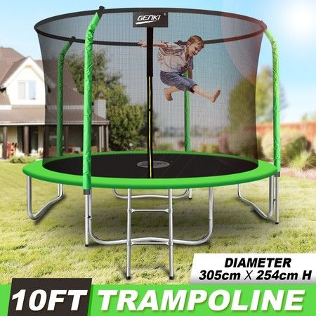 Genki 10FT Trampoline Set with Safety Enclosure Net W/Ladder