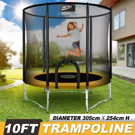 Genki 10ft Trampoline with Safety Enclosure Net