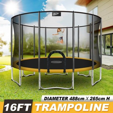 Genki 16ft Trampoline with Safety Enclosure Net