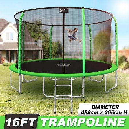 Genki 16FT Trampoline Set with Safety Enclosure Net with Ladder