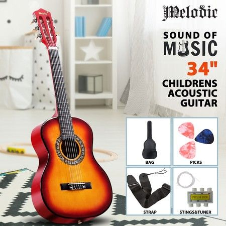 Melodic 34'' Kids Acoustic Guitar 6 Strings Tuner Cutaway Wooden Kids Gift Sunburst