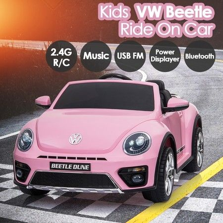 Volkswagen Beetle Kids Ride On Car 12V Electric Toys w/Remote USB FM Bluetooth
